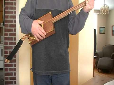 Electric Hockey Stick Resonator Guitar--Diddly Bow (sound test)