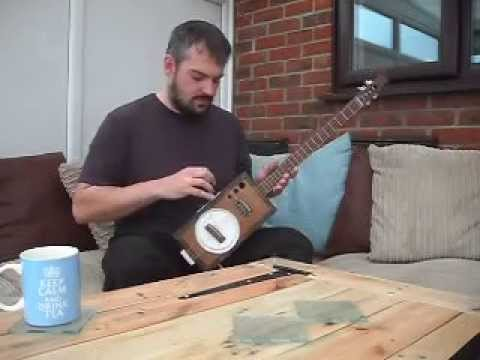 Faux Jack Daniel's cigar box guitar resonator by h