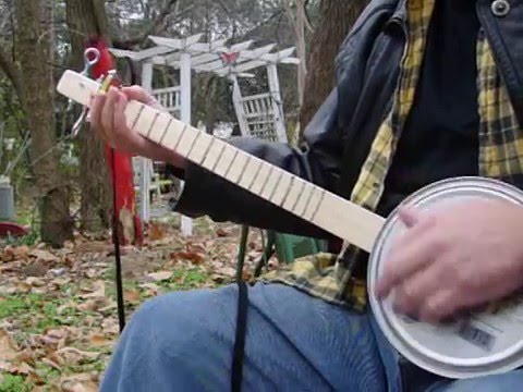 Homemade 2 string Cookie Tin Banjo Canjo Mutant experimental instrument