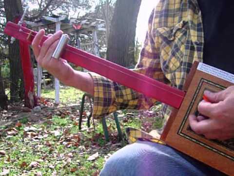 Red Neck Diddley Bow 1 string fretless Slide guitar Cigar Box Guitar Blues Rock Diddley Bo Thing