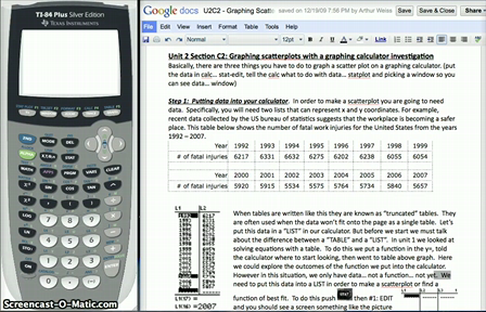 Graphing Scatterplots on a Graphing Calculator