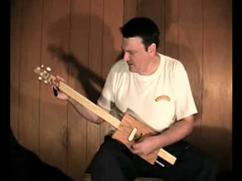 """Born On The Bayou"" 4 string slide fretless Cigar Box Guitar Mark Stowe"
