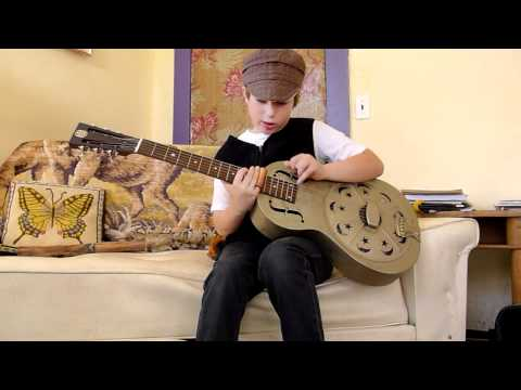 "7 year old plays ""Death Letter Blues"" on a Republic Resolian guitar"