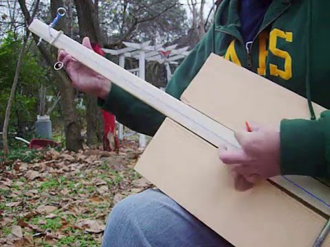 Homemade GUITAR 1 String Fretless solid body plank guitar with eye bolt tuners