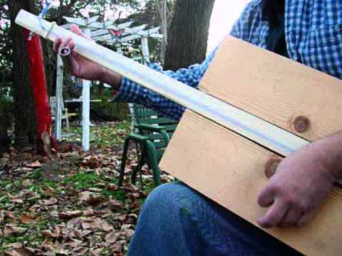"""Escape From the Lumberyard"" Primitive Homemade GUITAR 1 string fretless plank Guitar / Bass Guitar"
