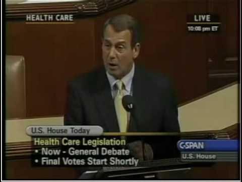 Boehner speech on obamacare vote