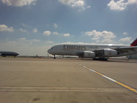 A380 EMIRATES LHR EK002 TAXIING FOR TAKE OFF