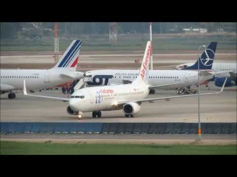 Timelapse Taxi Airplane At TLV Ben Gurion Airport Israel Full HD