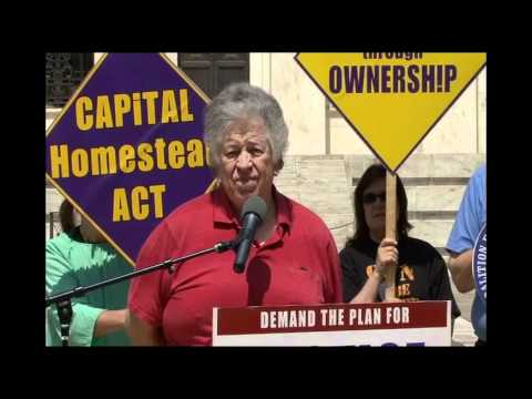 """Jerry Peloquin delivers testimony at the """"Ownership through Justice"""" Rally at the Fed, 2012."""