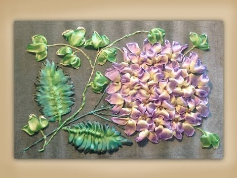 "Tutorial: Silk Ribbon Embroidery ""Hydrangea & Ivy"""