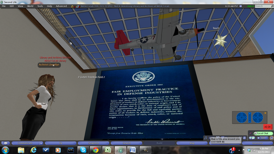 Executive Order 8802 (Fair Employment Act) on display at the Neil A. Armstrong Library and Archives in Second Life
