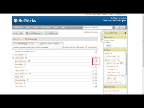 4.1 How to Share References in RefWorks