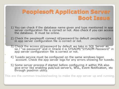 Peoplesoft Application Server Boot Issue | Peoplesoft Online Tutorial