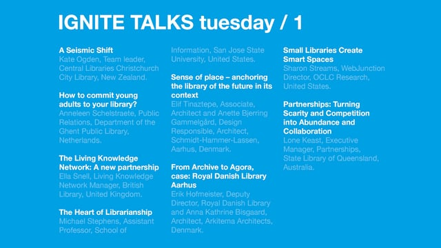 Tuesday Morning Ignite Talks /Next 2017