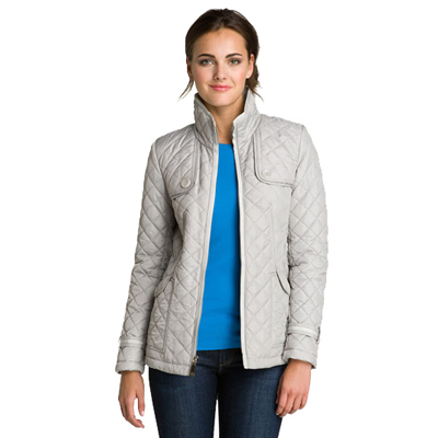 Grey Full Sleeves Quilted Jacket