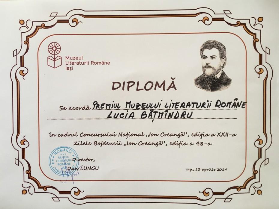 Diplomă Premiul Muzeului Literaturii Române