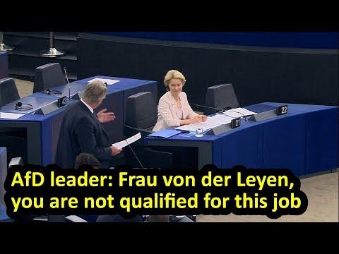 AfD leader criticises von der Leyen during EU parliament debate on her nomination, English subtitles