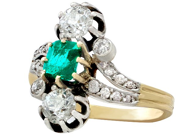 1.12 ct Diamond & 0.60 ct Emerald, 18 ct Yellow Gold Twist Ring - Antique Circa 1880