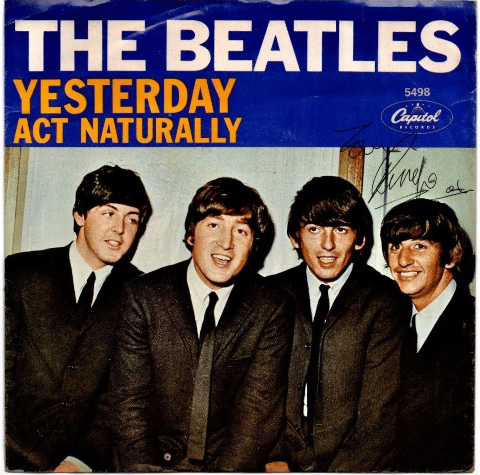 """The Beatles – Ringo Signed """"Yesterday"""" Picture Sleeve 45"""