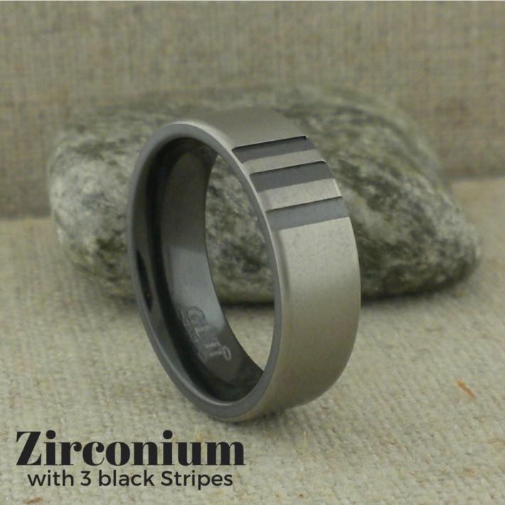 Black Zirconium Wedding Ring with Three Stripes