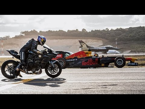 Kawasaki Ninja H2R Vs F1 Car Vs F16 Fighter Jet  Vs Super-cars Vs PrivateJet Drag Race