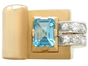1.45 ct Aquamarine and 0.30 ct Diamond, 18 ct Yellow Gold Dress Ring - Art Deco - Antique