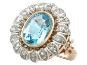 3.71ct Aquamarine and 0.88ct Diamond, 18ct Yellow Gold Cluster Ring - Vintage French Circa 1940