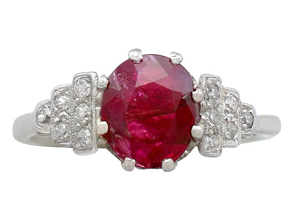 1.80 ct Ruby and 0.12 ct Diamond, 14 ct White Gold Dress Ring - Antique French Circa 1940