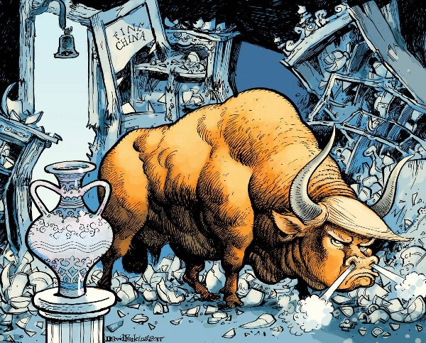 Donald Trump as a bull rampaging in a china shop