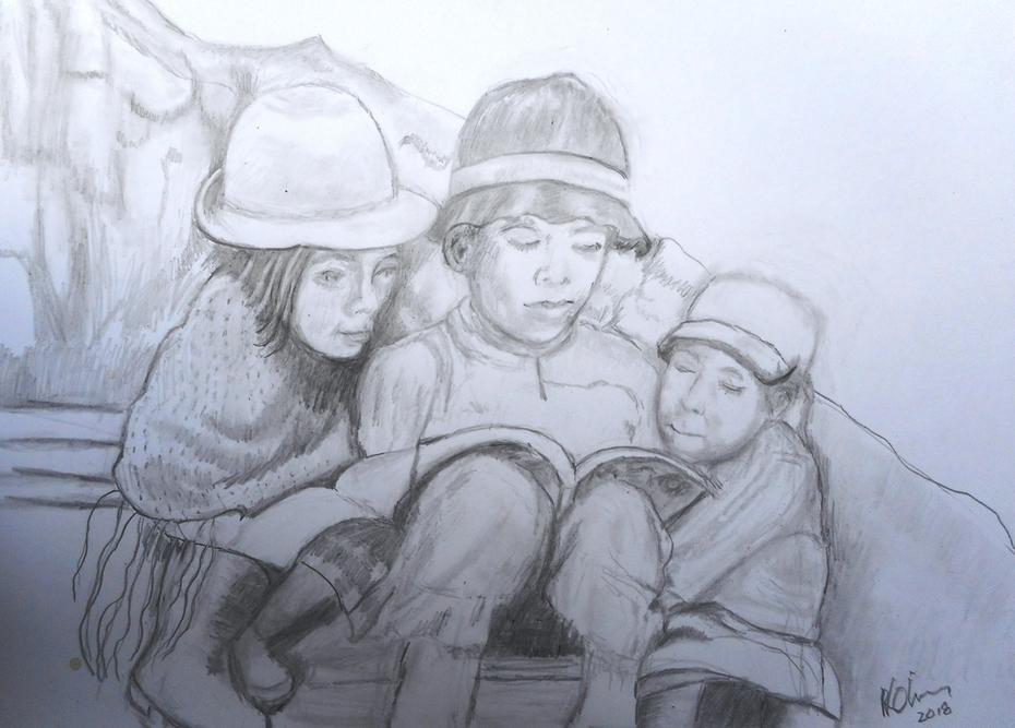 Andean Children graphite on Bristol board 2 Jun 2018