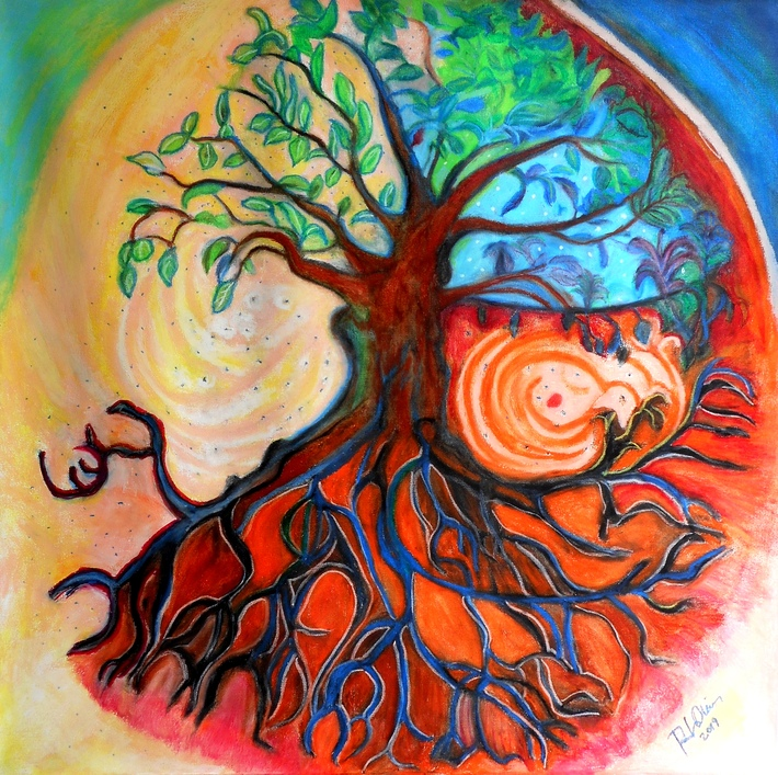 Tree of Life oil pastels on canvas RLO 17 sep 2019