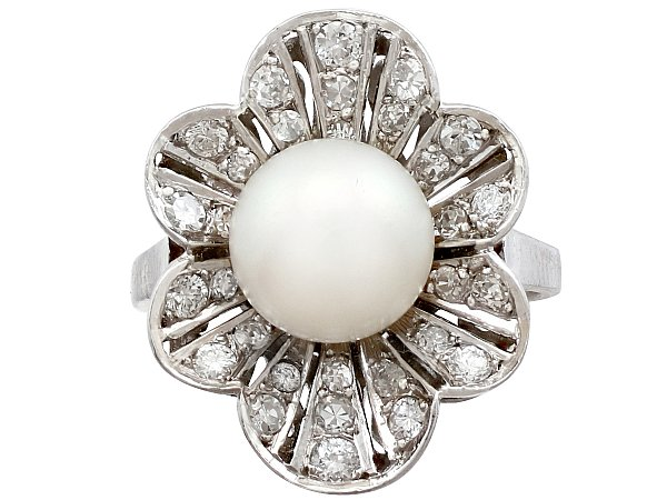 Cultured Pearl and 1.02ct Diamond, Platinum Cluster Ring - Vintage Circa 1950
