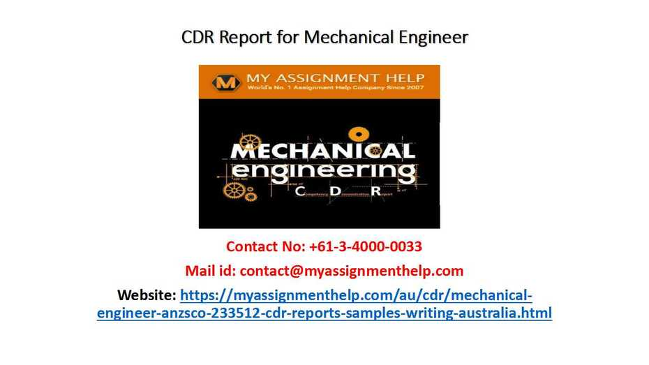 CDR Report for Mechanical Engineer