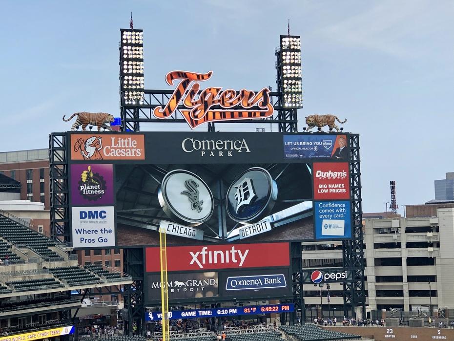Comerica Park scoreboard; Detroit, MI 9/21/2019