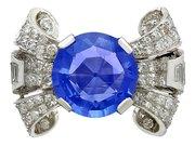 8.50ct Ceylon Sapphire and 1.95ct Diamond, Platinum Cocktail Ring - Antique Circa 1935