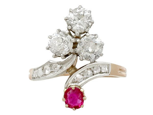 1.71ct Diamond and 0.30ct Ruby, 18ct Yellow Gold Twist Ring - Antique French Circa 1910