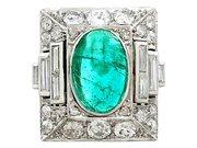 3.40ct Emerald and 2.72ct Diamond, Platinum Cocktail Ring - Antique Circa 1935