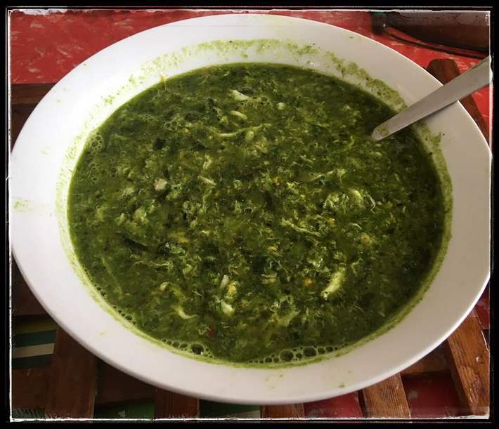 Soup of Minced spring onions, Okinawan spinach and egg swirl.