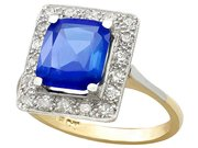 2.44ct Ceylon Sapphire and 0.40ct Diamond, 18ct Yellow Gold Dress Ring - Antique Circa 1930