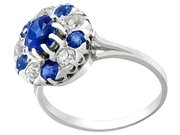 1.04ct Sapphire and 0.30ct Diamond, Platinum Cluster Ring - Antique Circa 1915