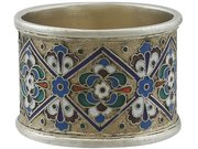 Russian Silver Gilt and Polychrome Cloisonné Enamel Napkin Ring - Antique Circa 1915