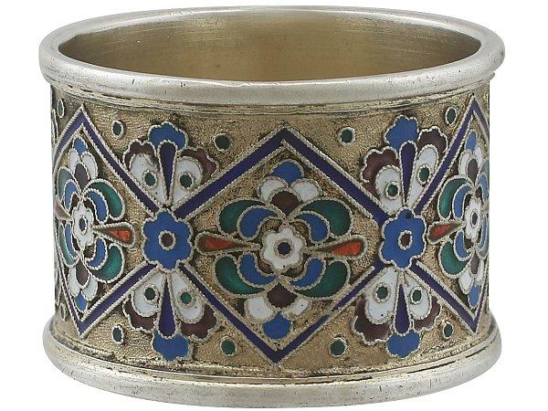 Russian Silver Gilt and Polychrome Cloisonné Enamel Napkin Ring - Antique Circa 1915