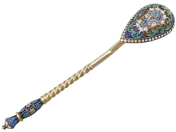 Polychrome Cloisonné Enamel and Russian Silver Gilt Spoon - Antique Circa 1915