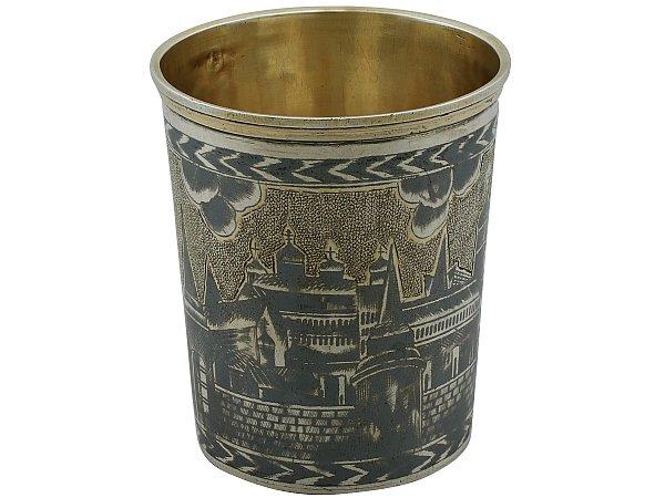 Russian Silver Gilt and Niello Enamel Beaker - Antique 1827