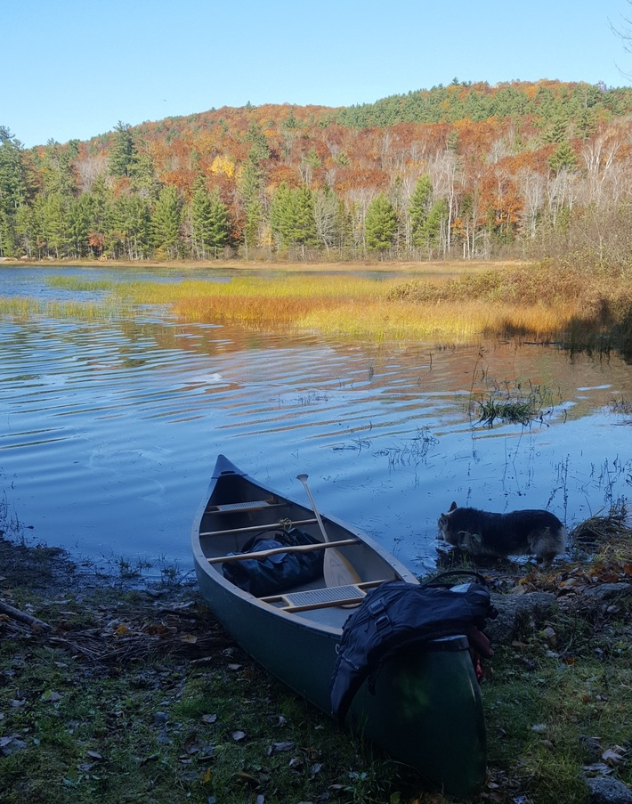Late Fall is here in Maine, scouting for float plane campsite.