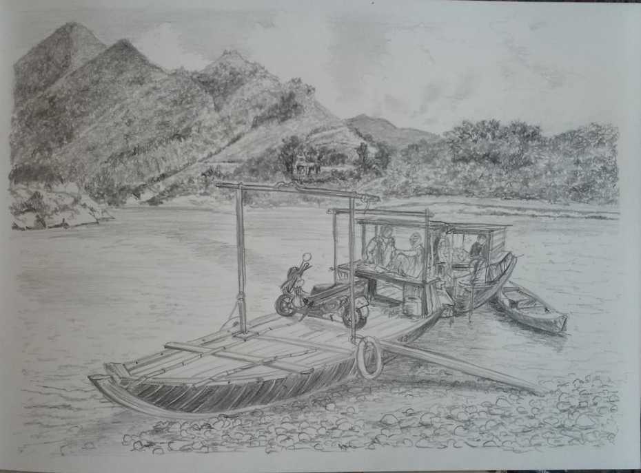sketch of a lake in Vietnam
