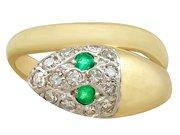 0.10ct Emerald and 0.40ct Diamond, 18ct Yellow Gold Snake Ring - Vintage Circa 1960