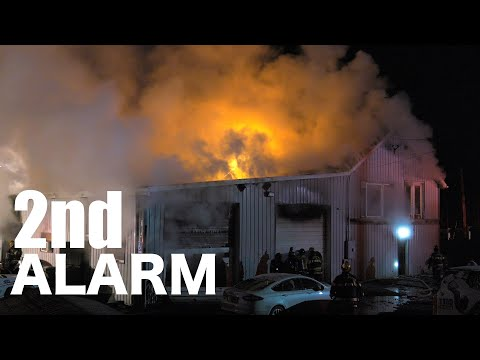 Firefighters battle this 2-alarm fire in Lehigh Township, Pennsylvania