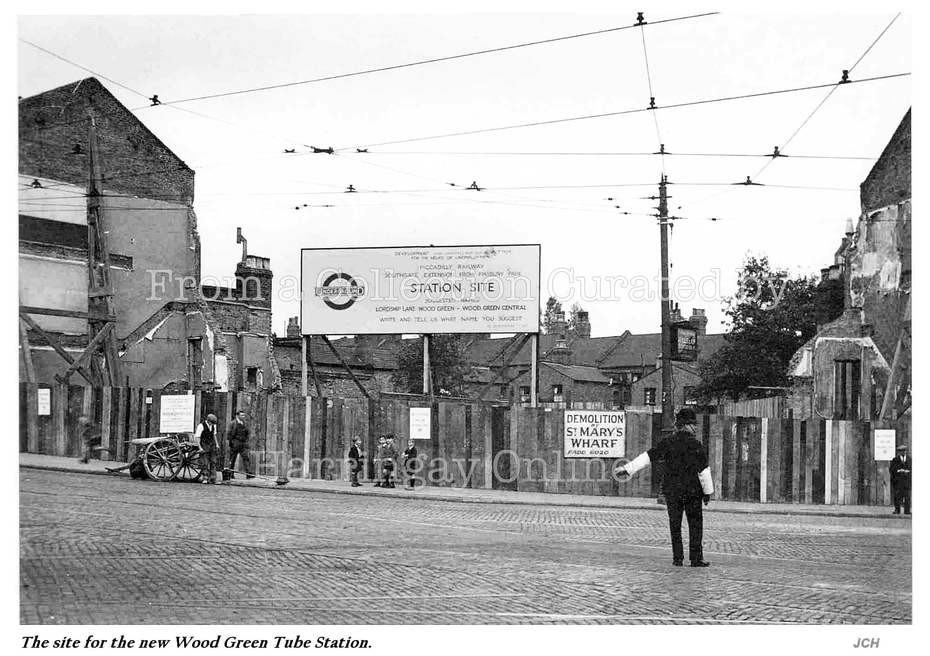 Site of Wood Green Tube (with sign showing name options) c1930