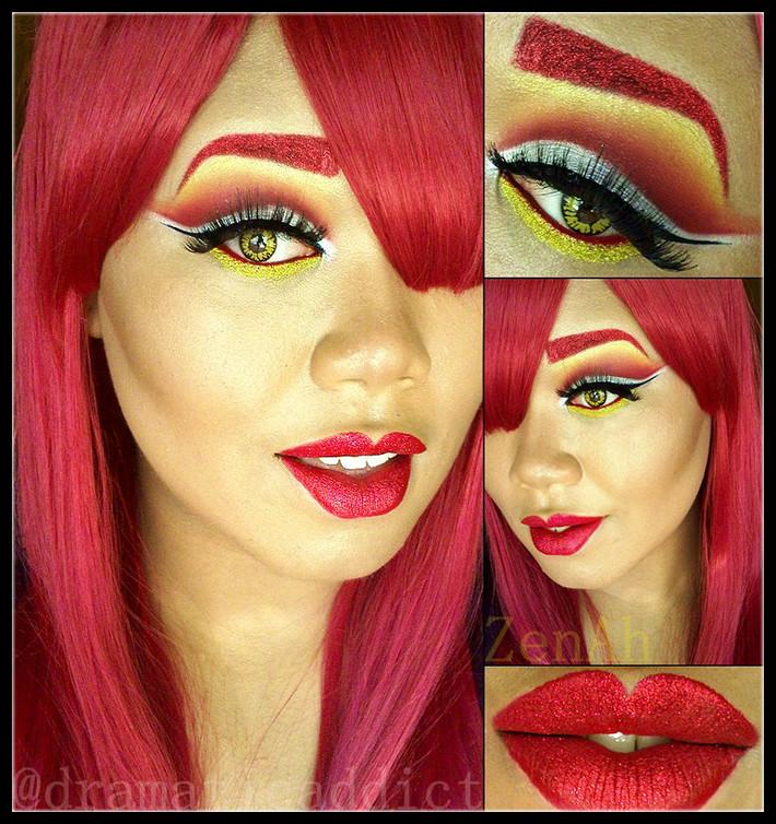 Fire Inspired Cut Crease & Red Glitter Lips